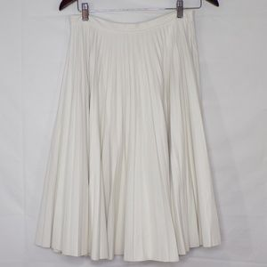 TopShop Cream Faux Leather Pleated Skirt, Sz 8